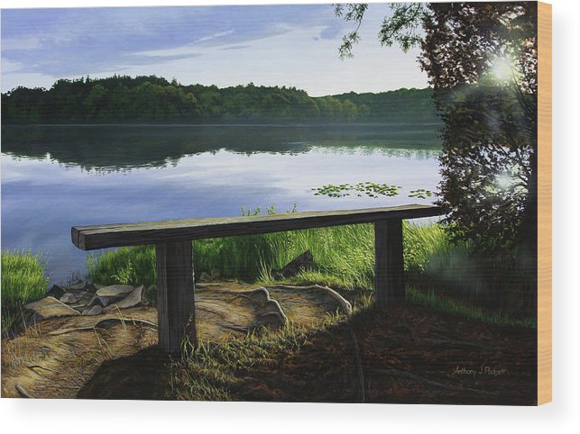 Landscape Wood Print featuring the painting A Bench To Ponder by Anthony J Padgett