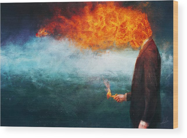 Fire Wood Print featuring the painting Deep by Mario Sanchez Nevado