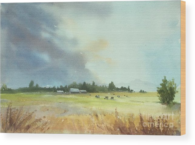 Lynden Wood Print featuring the painting Lynden Farm, Wa by Yohana Knobloch