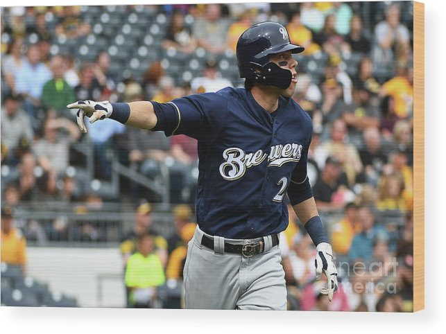 Second Inning Wood Print featuring the photograph Christian Yelich by Justin Berl