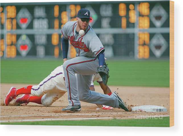 Sports Ball Wood Print featuring the photograph Freddie Freeman And Jimmy Rollins by Rich Schultz