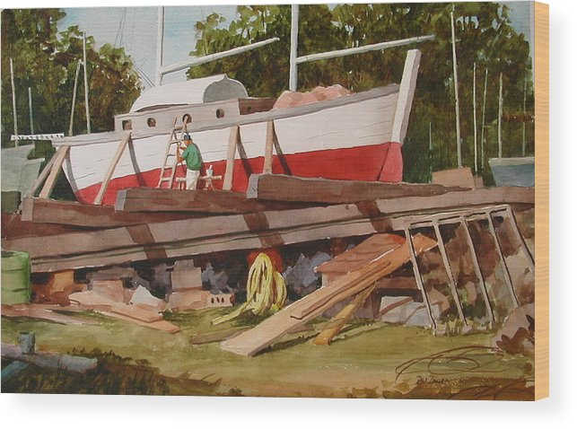Boats Wood Print featuring the painting Second Time Around by Faye Ziegler