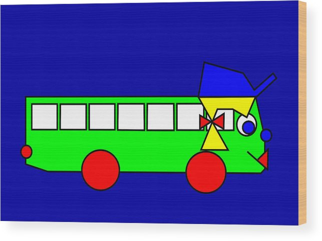 Belinda Wood Print featuring the digital art Belinda The Bus by Asbjorn Lonvig