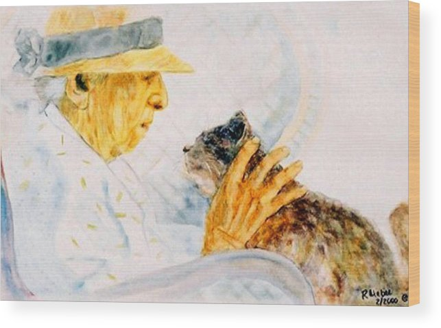 Marjory Wood Print featuring the painting Marjory And Her Cat by Ruth Mabee