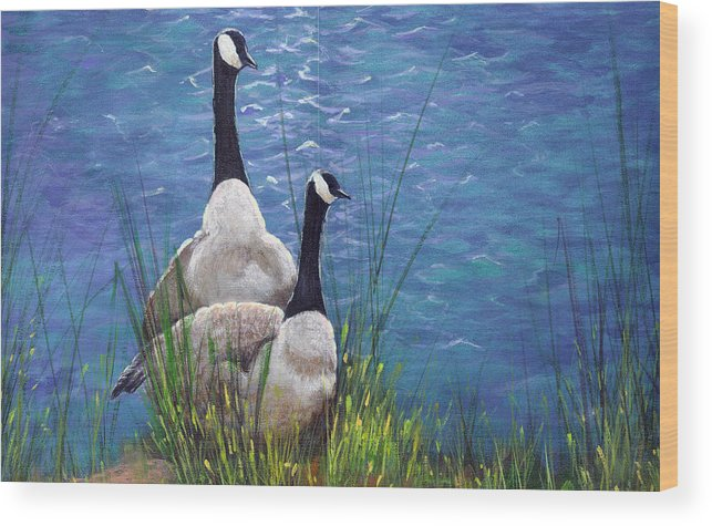 Landscape Wood Print featuring the painting Resting Geese by SueEllen Cowan
