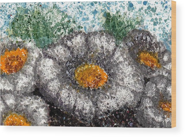 Watercolor Wood Print featuring the painting White Saguaro Cactus Blossom by Cynthia Ann Swan