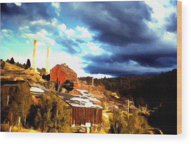 Old Buildings Wood Print featuring the painting Bi-metallic Mill Philipsburg Montana by Kevin Heaney