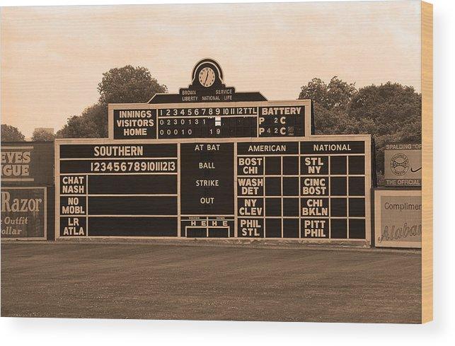 Vintage Baseball Scoreboard Wood Print