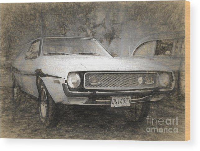 Sketch Wood Print featuring the digital art 1969 Ford Mustang by Perry Van Munster