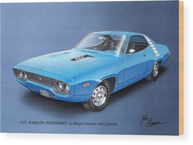 1971 Roadrunner Plymouth Muscle Car Sketch Rendering Wood Print By