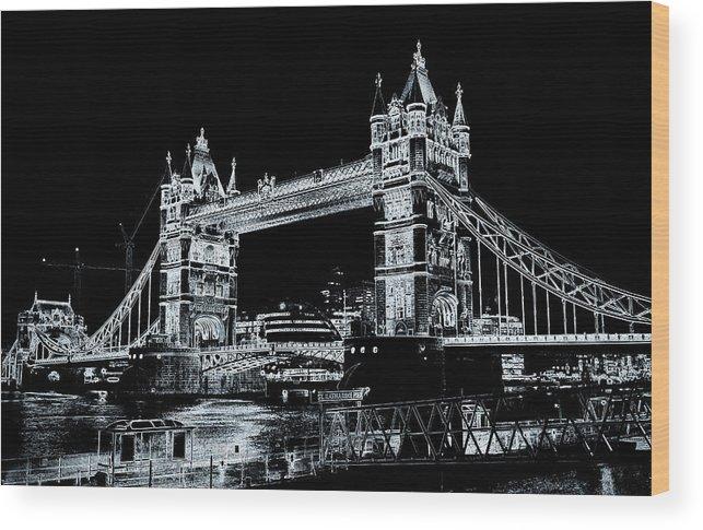 Bridge Wood Print featuring the digital art Tower Bridge Art by David Pyatt