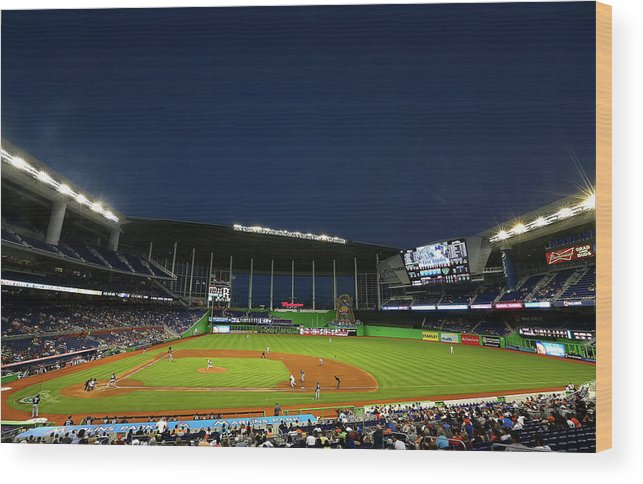 American League Baseball Wood Print featuring the photograph San Diego Padres V Miami Marlins 6 by Mike Ehrmann