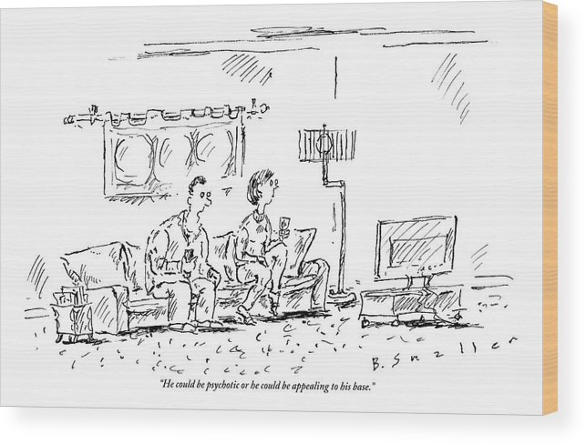 Republican Wood Print featuring the drawing A Man And A Woman Sit In A Living Room Watching by Barbara Smaller