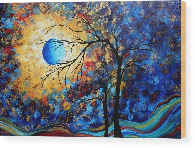 Abstract Wood Print featuring the painting Abstract Art Landscape Metallic Gold Textured Painting Eye Of The Universe By Madart by Megan Duncanson