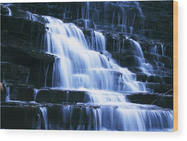 Landscape Wood Print featuring the photograph Albion Waterfalls 6 by John Turner