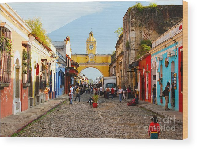 Guatemala Wood Print featuring the photograph Antigua Guatemala Clock by Carey Chen