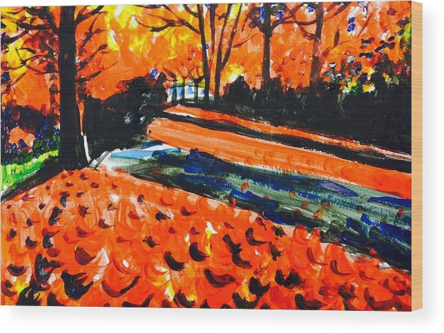 Wood Print featuring the painting Autumn At The Park. by Hae Kim