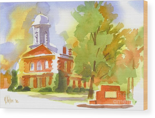 Autumn Observations Watercolor Wood Print featuring the painting Autumn Observations Watercolor by Kip DeVore