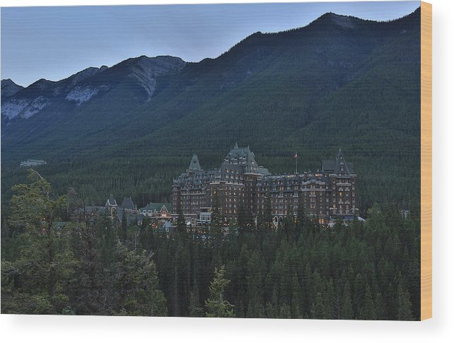 Canada Wood Print featuring the photograph Banff Springs Lodge by Jack Nevitt