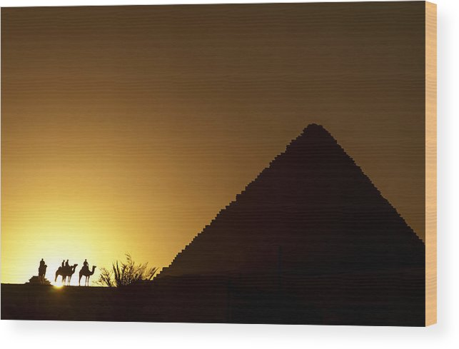 Giza Wood Print featuring the photograph Camel Riders At Sunset by Michael Brewer