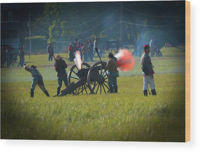 Gettysburg Wood Print featuring the photograph Canon Fire Reenactment by Scott Shaw