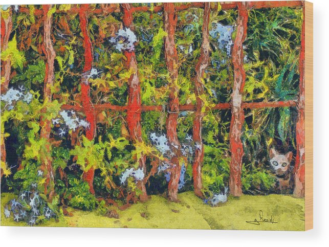 Rossidis Wood Print featuring the painting Cat And Fence by George Rossidis