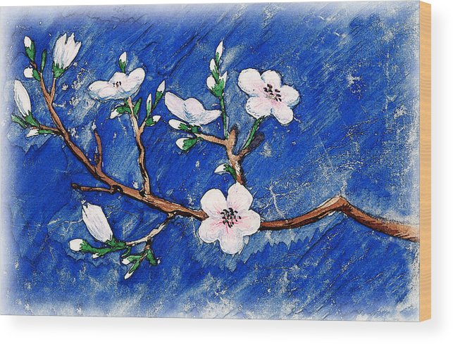 Cherry Wood Print featuring the painting Cherry Blossoms by Irina Sztukowski