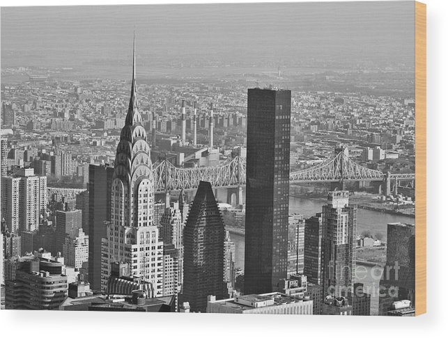 Chrysler Building Wood Print featuring the photograph Chrysler Building New York Black And White by Steve Purnell