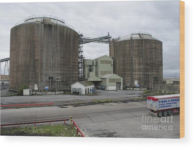 Avonmouth Wood Print featuring the photograph Coal Silos by Robert Brook
