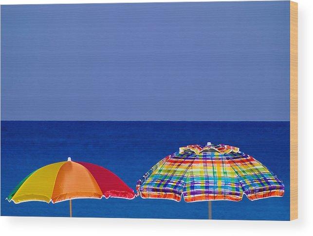 Miami Beach Wood Print featuring the photograph Deuce Umbrellas by Gary Dean Mercer Clark