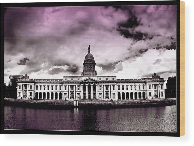 The Custom House Wood Print featuring the painting Dublin - The Custom House - Lilac by Alex Art and Photo