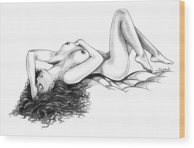 Spano Wood Print featuring the drawing Erotic Dreams By Spano by Michael Spano