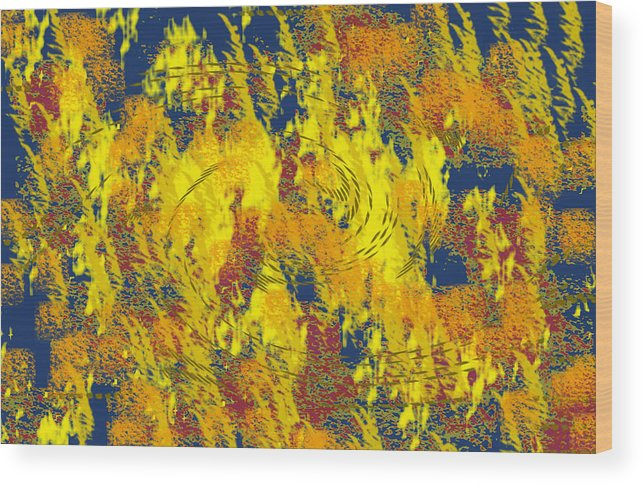 Abstract Wood Print featuring the digital art Forest Fire by John Saunders