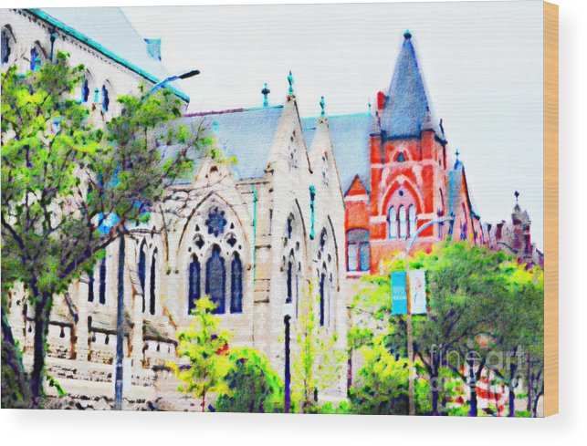 Architecture Wood Print featuring the photograph Historic Churches St Louis Mo - Digital Effect 7 by Debbie Portwood
