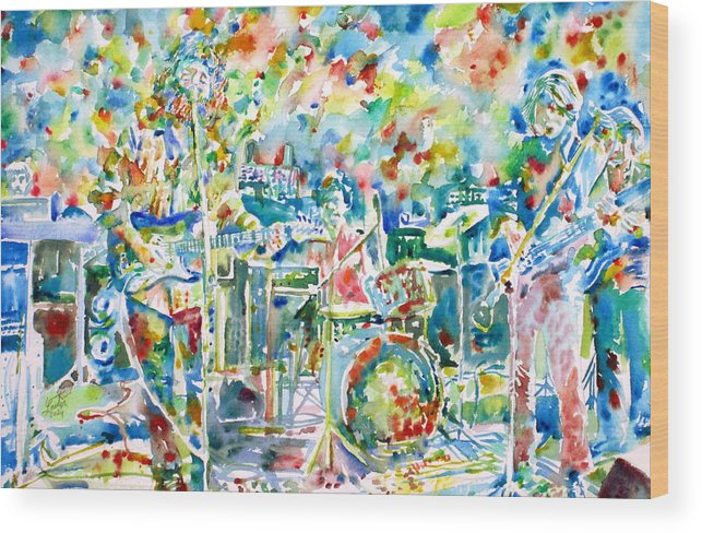 Jerry Garcia Wood Print featuring the painting Jerry Garcia And The Grateful Dead Live Concert - Watercolor Portrait by Fabrizio Cassetta