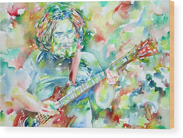 Jerry Wood Print featuring the painting Jerry Garcia Playing The Guitar Watercolor Portrait.3 by Fabrizio Cassetta