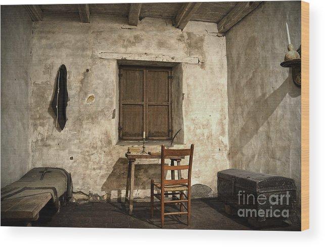 Junipero Serra Wood Print featuring the photograph Junipero Serra Cell In Carmel Mission by RicardMN Photography