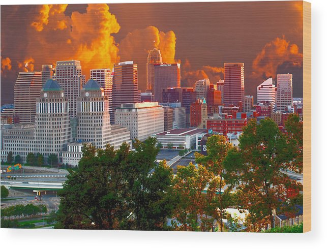 Katrina Wood Print featuring the photograph Katrina Storm Hits Cincinnati by Randall Branham
