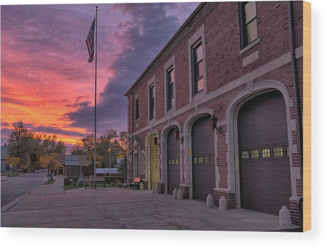 Fire Wood Print featuring the photograph Kenmore Fire Hall Sunset by Chris Bordeleau