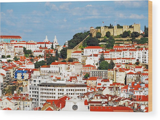 Cityscape Wood Print featuring the photograph Lisbon Cityscape With Sao Jorge Castle by Luis Alvarenga