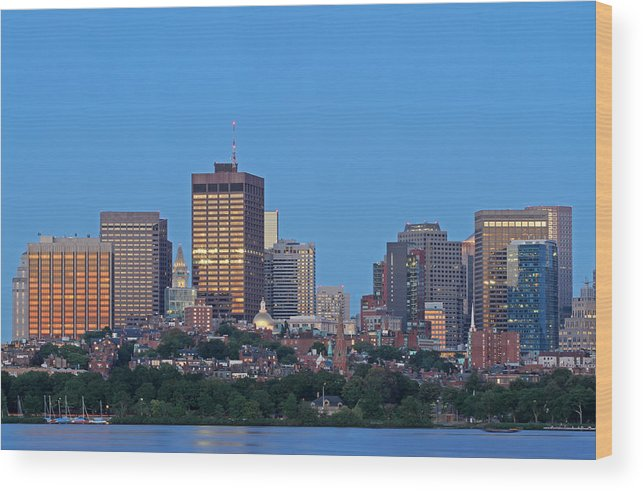 Beacon Hill Wood Print featuring the photograph Massachusetts State House And Beacon Hill by Juergen Roth