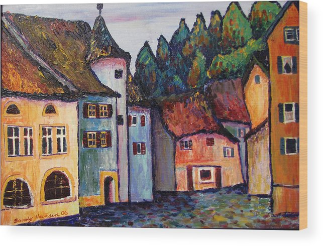 Medieval Wood Print featuring the painting Medieval Village Of St. Ursanne Switzerland by Art Nomad Sandra Hansen