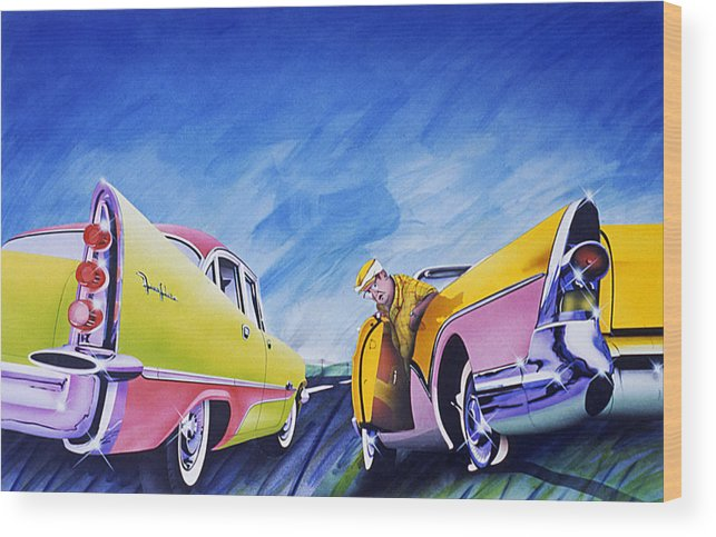 Fifties Automobiles Wood Print featuring the painting Minnesota Flat by Charles Stuart