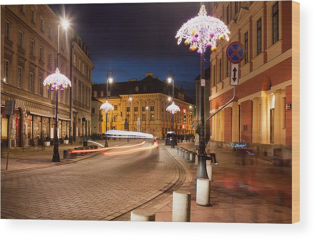 Warsaw Wood Print featuring the photograph Miodowa Street In Warsaw At Night by Artur Bogacki