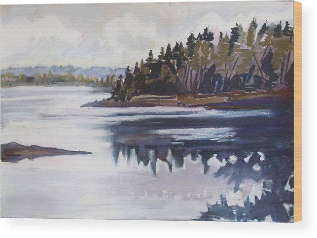 Downeast Maine Wood Print featuring the pastel Mt. Desert Morning by Grace Keown