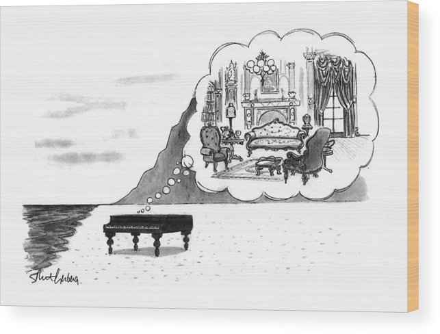 (the Piano On A Desolate Beach Wishing It Was In A Nice Parlor.)  No Caption Piano On Beach Has Mental Image Of Comfortable Victorian Parlor. Refers To Jane Campion's Film  Wood Print featuring the drawing New Yorker January 24th, 1994 by Mort Gerberg