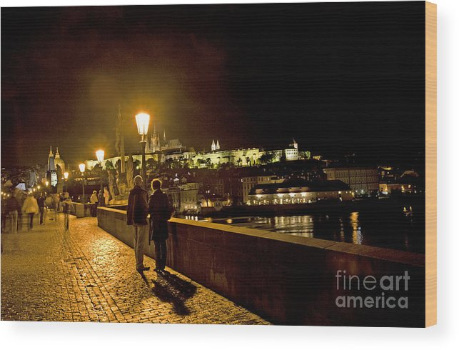 Prague Wood Print featuring the photograph Night On The Charles Bridge by Madeline Ellis
