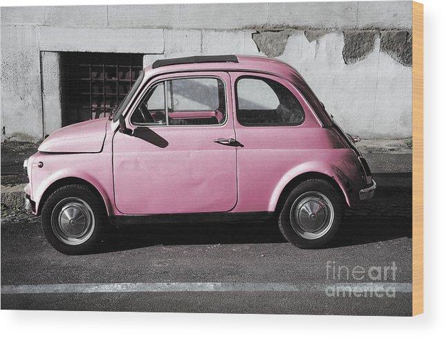 Old Pink Fiat 500 Wood Print