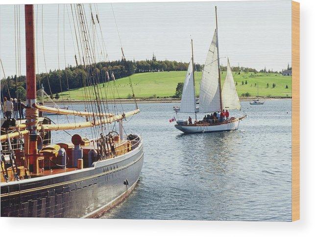 Old Wooden Sailboats Near Shore Wood Print