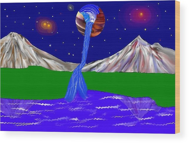 Space Art Wood Print featuring the digital art Planet Water Fall by Mark Springer